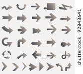 vector lots of black line arrows | Shutterstock .eps vector #92843641