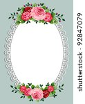 Vintage Roses Oval Frame With...