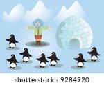 eskimo and penguins | Shutterstock .eps vector #9284920