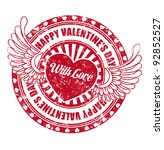 rubber stamp happy valentine's... | Shutterstock .eps vector #92852527