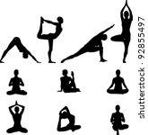 yoga silhouettes set | Shutterstock .eps vector #92855497