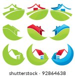 houses in the mountains  vector ... | Shutterstock .eps vector #92864638