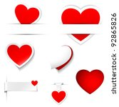 labels and stickers  heart shape | Shutterstock .eps vector #92865826