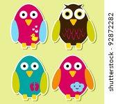 bird stickers | Shutterstock .eps vector #92872282