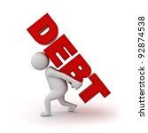 3d man carrying word debt on... | Shutterstock . vector #92874538