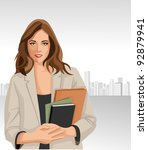 woman holding files with city... | Shutterstock .eps vector #92879941