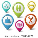 set of vector round 3d pointers ... | Shutterstock .eps vector #92884921