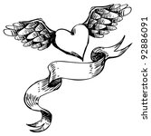 Hand drawn heart tattoo elements EPS 8 vector, no open shapes or paths.