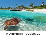 caribbean sea scenery with... | Shutterstock . vector #92888323