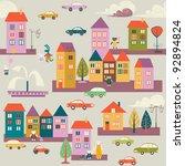 street  houses  cars | Shutterstock .eps vector #92894824