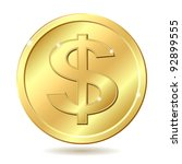 gold coin with dollar sign.... | Shutterstock .eps vector #92899555