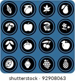 vector blue  signs. fruits and... | Shutterstock .eps vector #92908063