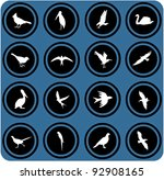 Vector Blue  Signs. Silhouettes ...
