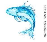 water fish splash isolated on...   Shutterstock . vector #92911381