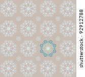 Retro snowflake style seamless wallpaper in vintage brown and blue tones with a stand out section - stock vector