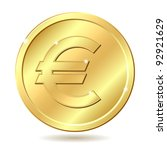 gold coin with euro sign.... | Shutterstock .eps vector #92921629