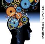 head and brain gears in... | Shutterstock .eps vector #92924131