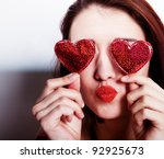 Brunette Girl With Red Hearts...