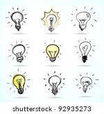 set of hand drawn light bulbs ... | Shutterstock .eps vector #92935273
