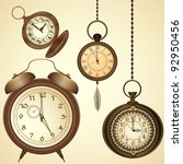 set of vintage clocks | Shutterstock .eps vector #92950456