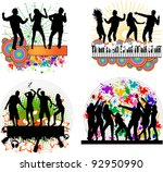 dancing people  grunge... | Shutterstock .eps vector #92950990