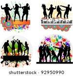 dancing people  grunge... | Shutterstock .eps vector #92950990