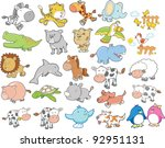 Cute Wild Farm Animal Vector...