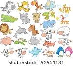 Stock vector cute wild farm animal vector design elements set 92951131