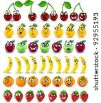 cartoon oranges  bananas ... | Shutterstock .eps vector #92955193