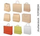 paper bags set  vector... | Shutterstock .eps vector #92958034
