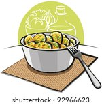 potato salad with parsley and... | Shutterstock .eps vector #92966623