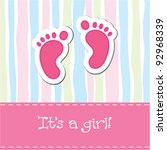 bright baby girl arrival card ... | Shutterstock .eps vector #92968339