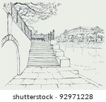 vector cityscape. an old stone... | Shutterstock .eps vector #92971228