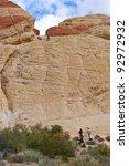 Rock climbing in Red Rock Canyon, Nevada, USA - stock photo