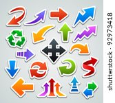 arrow stickers | Shutterstock .eps vector #92973418
