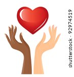 black and white hands with heart | Shutterstock .eps vector #92974519
