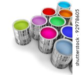 cans with colorful paints for...   Shutterstock . vector #92978605