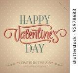'happy valentine's day' hand...   Shutterstock .eps vector #92978683