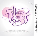 'happy valentine's day' hand... | Shutterstock .eps vector #92978695