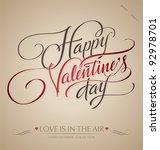 'happy valentine's day' hand... | Shutterstock .eps vector #92978701