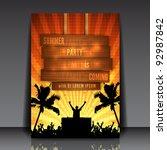 orange summer party flyer... | Shutterstock .eps vector #92987842