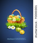 A Basket Full Of Easter Eggs O...