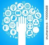 social media  communication in... | Shutterstock .eps vector #93000688