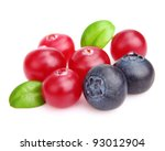 Cranberry with blueberry in closeup - stock photo