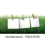 Stock photo hanging blank paper on clothesline in field 93013150