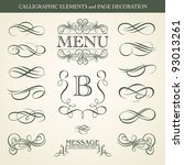 calligraphic elements and page... | Shutterstock .eps vector #93013261