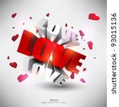 """3d word """"love"""" with hearts. red ... 