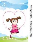 jumping girl in love | Shutterstock .eps vector #93022306