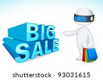 illustration of 3d man in vector fully scalable with shopping bag showing sale - stock vector