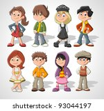 set of 8 cute happy cartoon kids | Shutterstock .eps vector #93044197